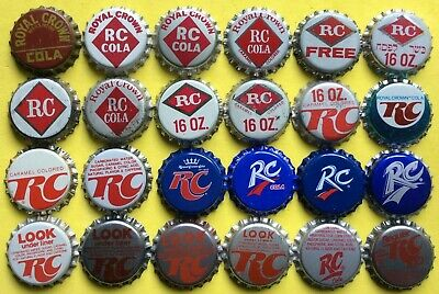 24 different ROYAL CROWN RC Cola soda bottle caps