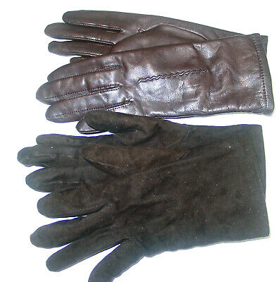LOT of (2) Women's LEATHER/SUEDE CASHMERE LINING GLOVES/Sz 6.5,7-LORD AND TAYLOR
