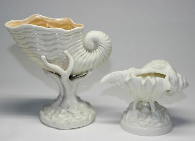 2 Antique Unmarked Parian Figural Shell On Coral Dishes/Bowls English/Belleek