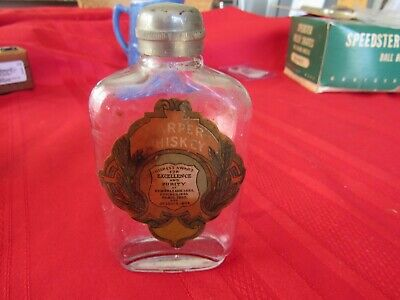 Rare 1/3 Pint Harper Whiskey Bottle Flask-Paper Label-1904 World's Fair-Pre Pro