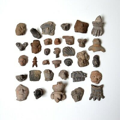 lot of 34 PRE-COLUMBIAN Mexican pottery FRAGMENTS