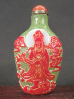 Chinese Guanyin Boy Carved Peking Overlay Glass Snuff Bottle