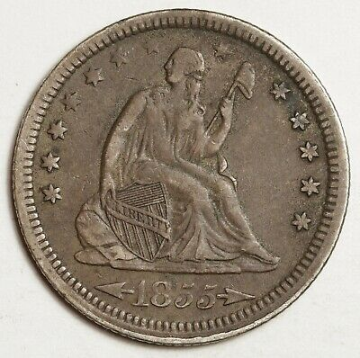 1855 Liberty Seated Quarter.  Natural Uncleaned X.F.  148672