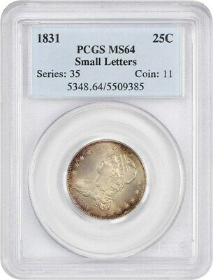 1831 25c PCGS MS64 (Small Letters) - Colorful Toning - Draped Bust Quarter