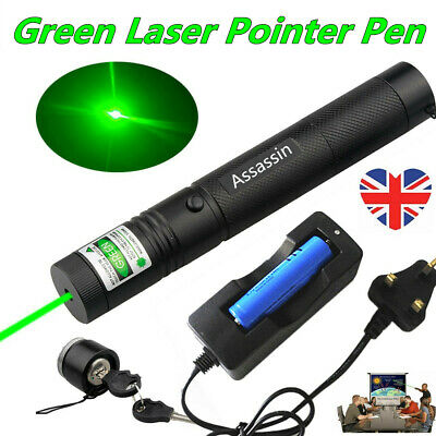 1mW Rechargeable Green Laser Pointer Pen Single Beam Cat Toy Lazer+Battery+Char