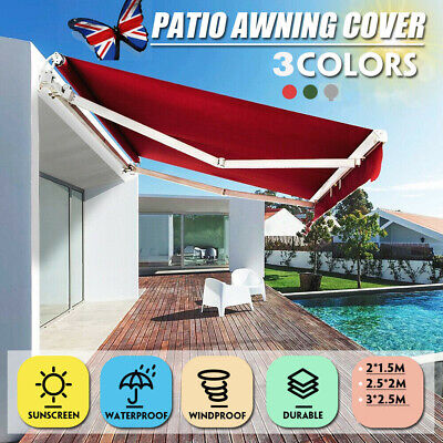 Manual Awning Canopy Outdoor Patio Garden Sun Shade Retractable Shelter UK STOCK