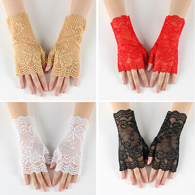 Women Summer Sunscreen Gloves  Driving Gloves Fashion Embroidered Lace Gloves