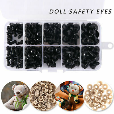 100 Round Black Plastic Safety Eyes For Teddy Bear Doll Animal Making DIY Screws