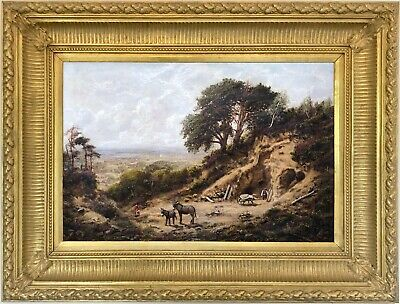 Figures and Donkeys at a Quarry Antique Oil Painting 19th Century English School