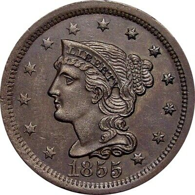 1855 Braided Cent--Choice Brown UNC