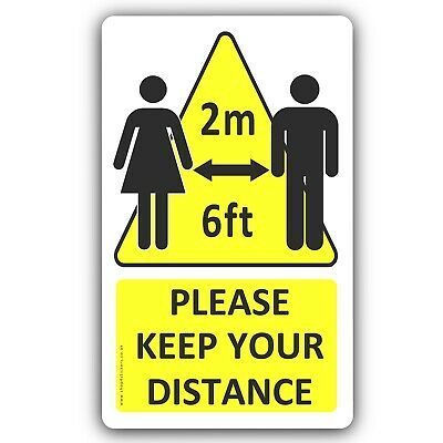 1 x Please Keep Your Distance 2m 6ft Social Distancing Sticker Sign Notice FC