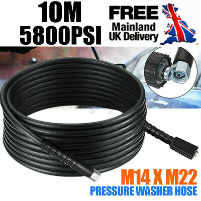 10m 5800PSI High Pressure Washer Hose Tupe Pipe M22 x M14 Screw Thread Jet Wash