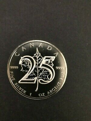 2013 CANADA 1 oz SILVER CANADIAN MAPLE LEAF 25th ANNIV