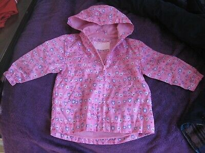 Lovely girls raincoat from TU. Fully lined. Age 2-3. Pink + purple hearts. VGC
