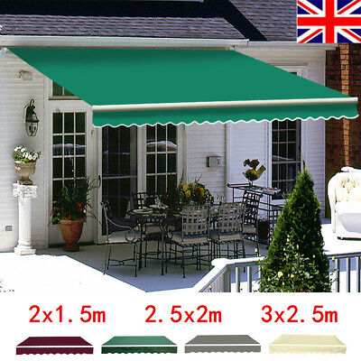 UK Patio Manual Awning Garden Canopy Sun Shade Retractable Shelter Top Fabric