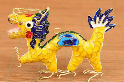 chinese lovely cloisonne yellow dragon statue netsuke collectable pendant deco