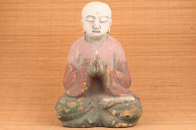Blessing Rare chinese old wood hand carved buddha statue tibet collectable art