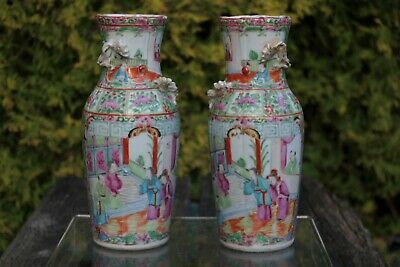 A Pair of Beautiful Antique Chinese Handpainted Canton Famille Rose Vases