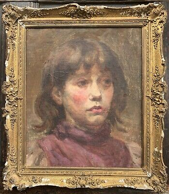 Oil on canvas portrait of a young girl c1910