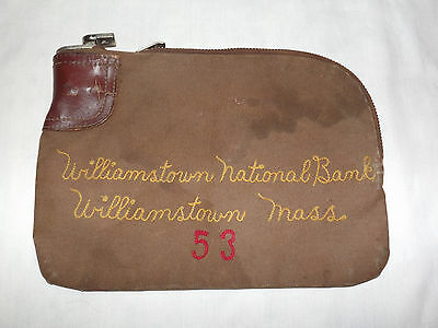 Vintage Coins Money Williamstown Mass National Bank Deposit Bag