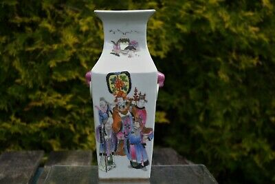 Beautiful Antique Chinese Hand-painted Square Calligraphy Vase - with mark