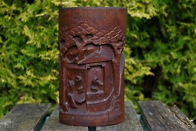 Fantastic Antique Chinese Qing Dynasty Deep Carved Thick Bamboo Brushpot