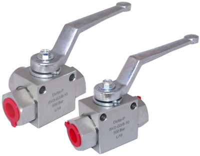"Hydraulic 2 Way or 3 Way High Pressure Ball Valves - 3/8"" BSP - 500 Bar MWP"