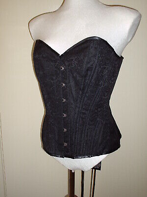 VINTAGE GOTH LACE UP HOURGLASS BLACK BROCADE CORSET 28 in WAIST SIZE 12 TO 14