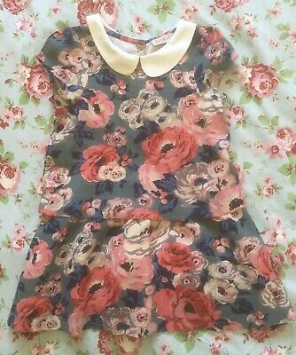 Cath Kids Cath Kidston Little Girl Floral Dress, Peter Pan Collar Aged 2-3 Years