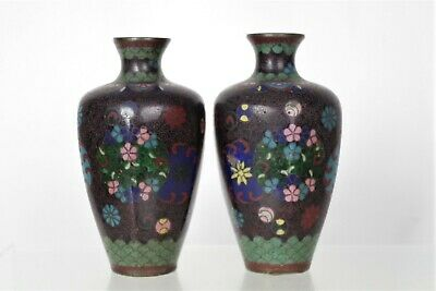 Lovely Pair of Collectable Antique Japanese Cloisonne Enamel Vases