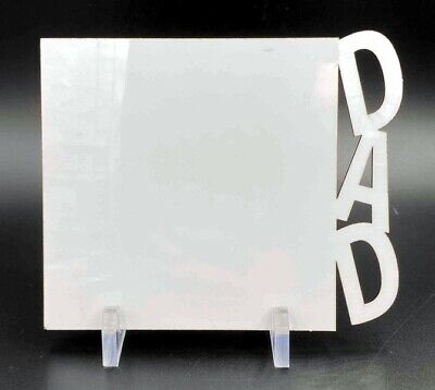 """Sublimation Blank White Hardboard (3 Pack) with Stands - """"DAD"""" Side"""