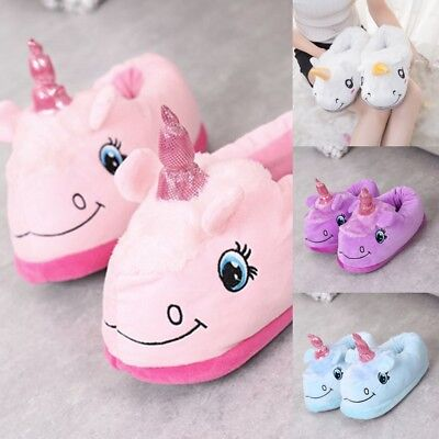 Womens Girls Winter Warm Cotton Unicorn Comfy Slipper Plush Home Shoes Xmas