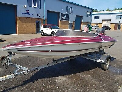16ft speed boat with trailer and outboard