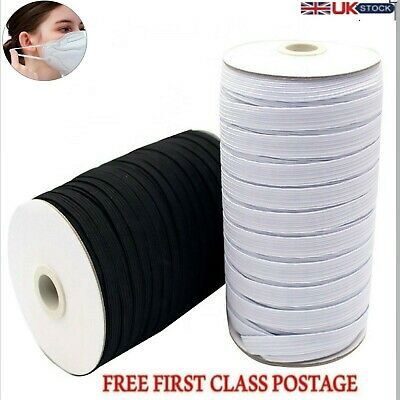 Elastic Cord 3mm 5mm 6mm 7mm 8mm 10mm Flat Sewing Elastic Band White Black Mask