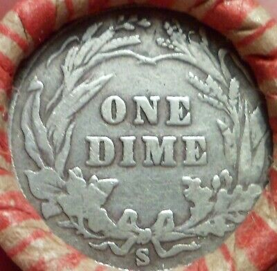 Mixed Wheat & Indian Cent Roll San Francisco S-Mint Barber Dime & Indian Head sz
