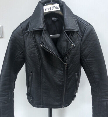 Womens/Girls Topshop Faux Leather Biker Black Jacket Size 6