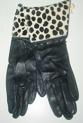 VINTAGE PATTI HORN Women's  BLACK FINE LEATHER CALF HAIR TRIM GLOVES/Sz X-S-RARE