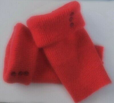Fingerless Gloves Red Women's Angora Wool Lambswool One Size Fits Most S M L *