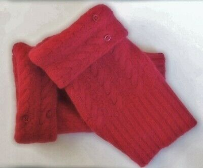 Fingerless Gloves Women's Red Angora Cashmere Wool One Size Fits Most S M L *