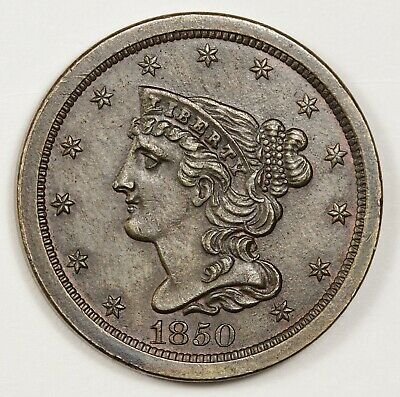 1850 Half Cent.  Pretty Coin.  Natural Brown A.U.  148742