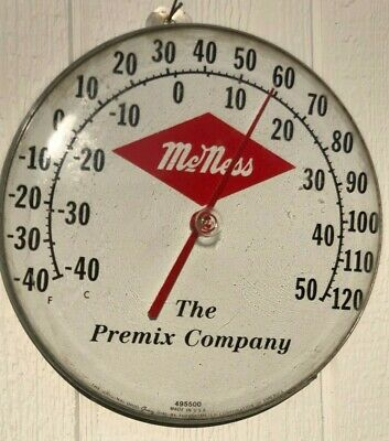 """Vintage McNess 'The Premix Company' Thermometer Domed 1950's - 12"""" Round"""