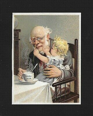 Grandpa Plays With Baby Over Coffee-Charming Victorian Trade Card