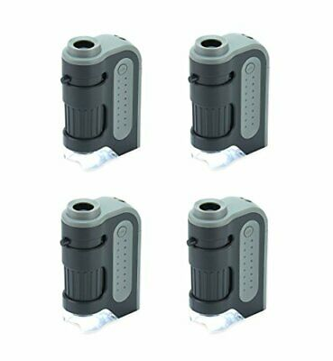 Carson MicroBrite Plus 60x-120x Power LED Lighted Pocket Microscope - Set of 4