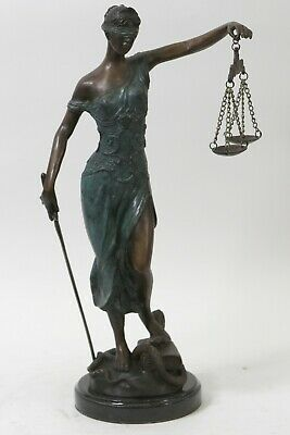 Blind Lady Scale Justice Bronze Statue Lady Of Justice, Signed: Mayer Sculpture