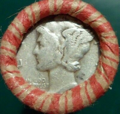 Estate Mixed Wheat & Indian Cent Roll with Mercury Dime & Indian Head coins m5