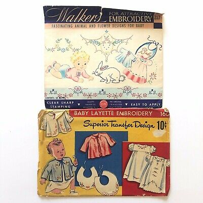 Lot of 2 Vintage Original Embroidery Transfer Patterns For Baby