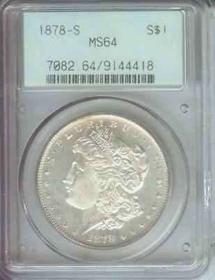 1878-S Morgan Silver Dollar S$1 Pcgs Ms64 Nice Ms-64 Old Green Holder Ogh !!