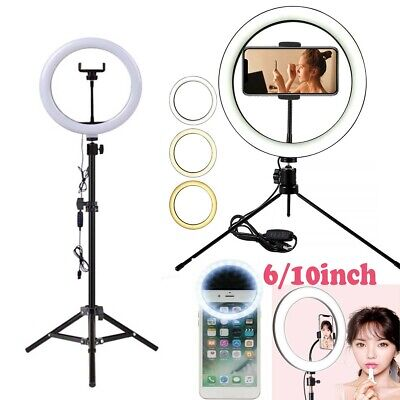 "6""/10"" Dimmable LED Ring Light Tripod Stand Selfie Mini Circle Lamp Make Up AU"