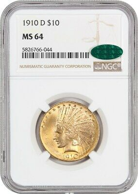 1910-D $10 NGC/CAC MS64 - Slightly Better Date - Indian Eagle - Gold Coin