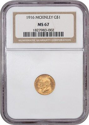 1916 McKinley G$1 NGC MS67 - Classic Commemorative - Gold Coin